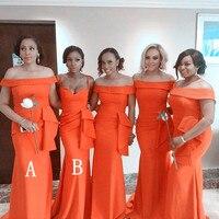 Fashionable Orange Mermaid Bridesmaid Dresses 2018 Ruffles Long Boat Neck Maid Of Honor Dress Prom For Women Corset Back