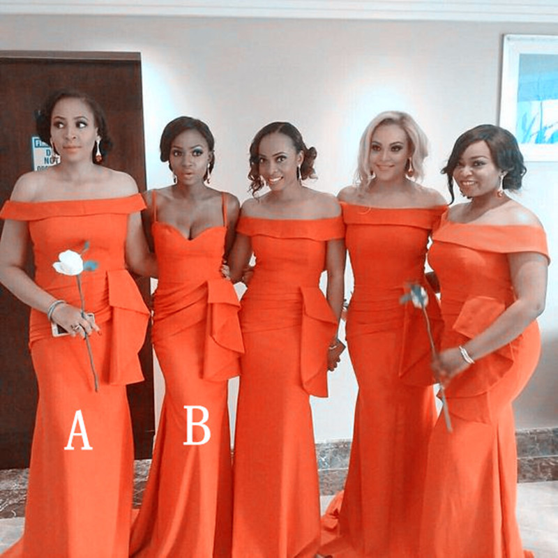 Orange Mermaid   Bridesmaid     Dresses   With Ruffles Waist Cheap Long Boat Neck Maid Of Honor   Dress   Prom For Women