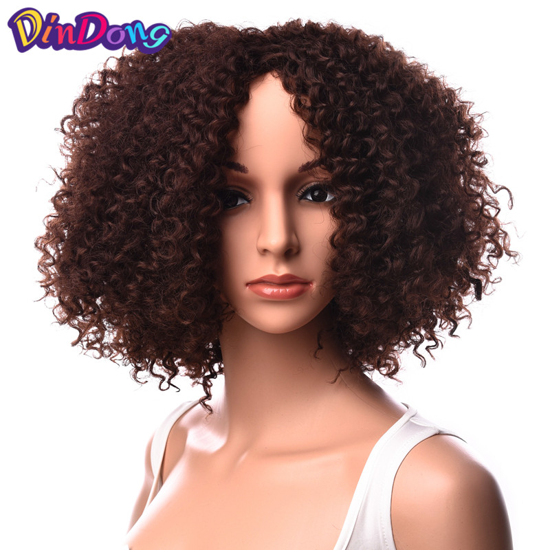 DinDong Kinky Curly Synthetic Lace Front Wigs for Black Women Afro Heat Resistant Wig 18 inch 2 Colors Available Medium Black