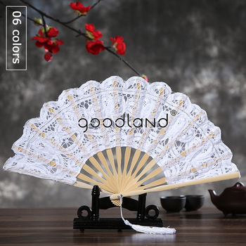Free Shipping 1pcs mufti-colors Spain Victorian Battenburg Lace Hand Fan for Wedding Gift