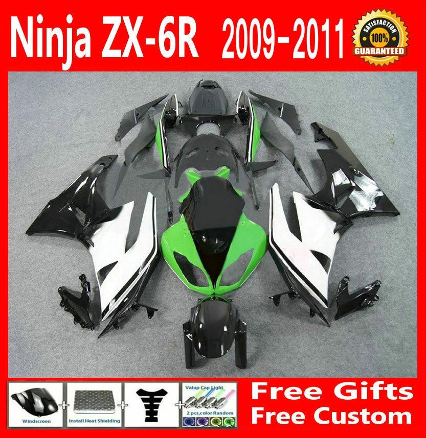 Free sticker fairing kit for kawasaki ninja zx6r 2009 2010 2011 greenwhite black 09 10 11 high quality fairings g12 in covers ornamental mouldings from