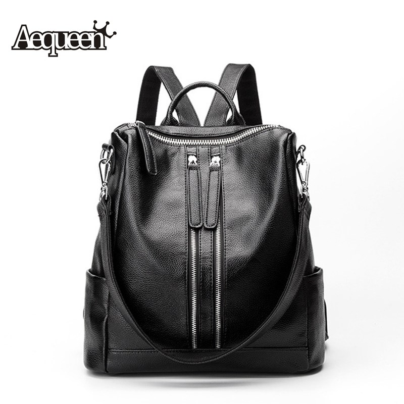 AEQUEEN Women Backpack 2017 Genuine Leather Backpacks School Bags For Teenagers Girls Travel Shoulder Bag Black aequeen womens backpacks nylon backpack shoulder bags fashion ladies small ruck school for girls travelling shopping bag