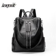 Aequeen женщины рюкзак 2017 натуральная кожа рюкзаки школьные сумки для подростков девочек Дорожная Сумка Черный