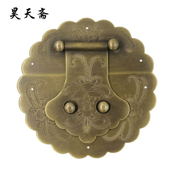 [Haotian vegetarian] antique copper box face page / 12cm box buckle / HTN-010 [haotian vegetarian chinese antique jewelry box] bronze fittings copper box buckle clasp tricolor htn 086
