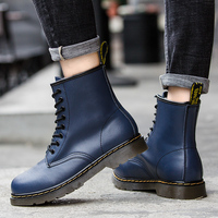 Doc Mart Classic Women Boots British Mains Genuine Matn Boots Female Thick Heel Blue Motorcycle Women's Shoes Martens Women