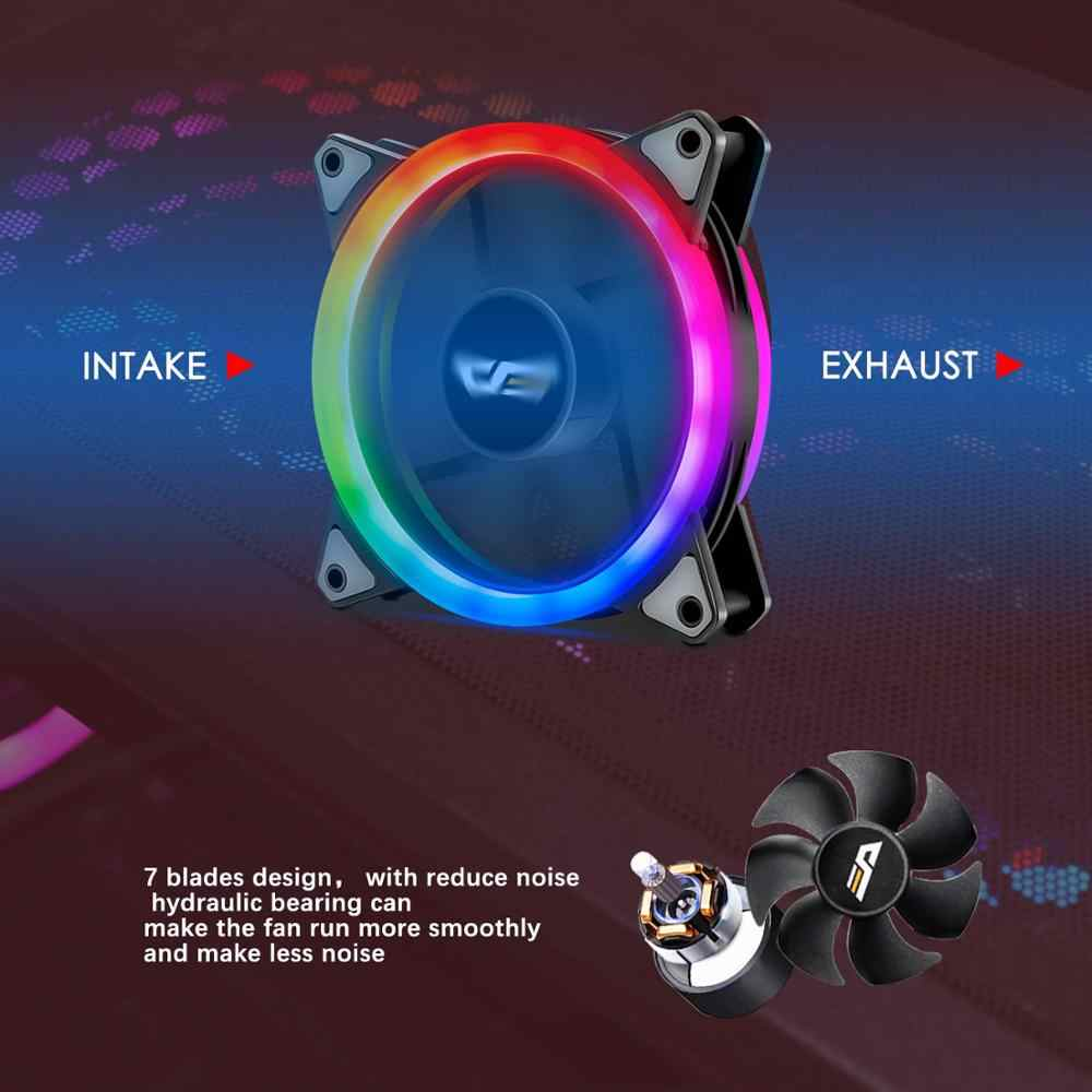 Aigo DR12 PRO RGB LED Case Fan untuk CPU Cooler Menyesuaikan Kecepatan Air Kipas Pendingin Tenang Remote 120 Mm Aura sync Komputer PC Fan