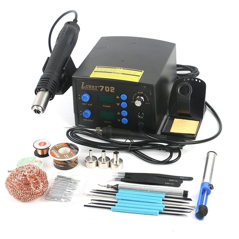 Lukey 702 2 in 1 Digital Hot Air Soldering Station Set with Rework ESD Hot Air