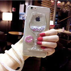 sFor iPhone XS Case iPhone 6 7 8 Plus 3D Liquid Quicksand Bling Rhinestone Wine Glass Pattern Phone Case for iPhone X XS Max XR 5