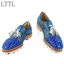 LTTL Men Blue Patchwork Tassel Shoes Spikes Studded Lowtop Slip on Mixed Color Loafers Anti-skid Men Casual Shoes Size 38-47