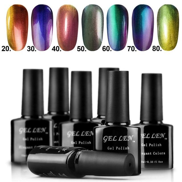 Gel Len 7pcs/lot LED Chameleon Change Nail Art Gel Polish New Elegant Color Glitter Long-lasting Gel Varnish Soak Off Polish