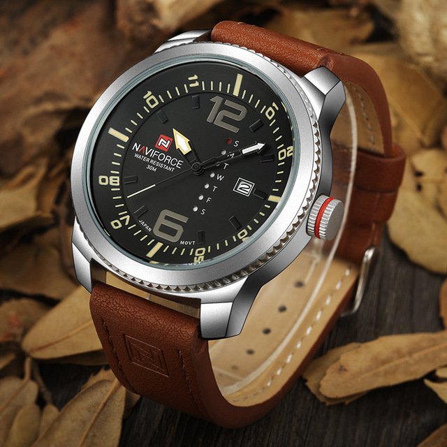 Mens Military Sports Leather Watch