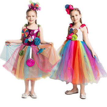 Girls Rainbow Candy Dress Kids Lollipop Modeling Frock Baby Girl Performance Costumes Summer Children Birthday Party Clothes 1