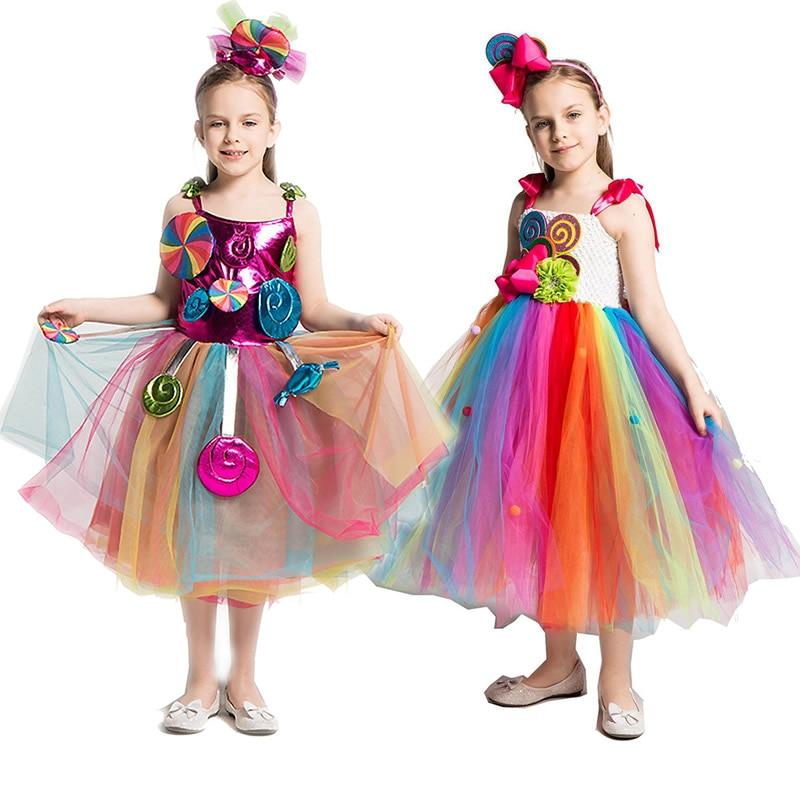 Meninas arco-íris doce vestido crianças lollipop modelagem frock bebê menina desempenho trajes verão crianças festa de aniversário roupas
