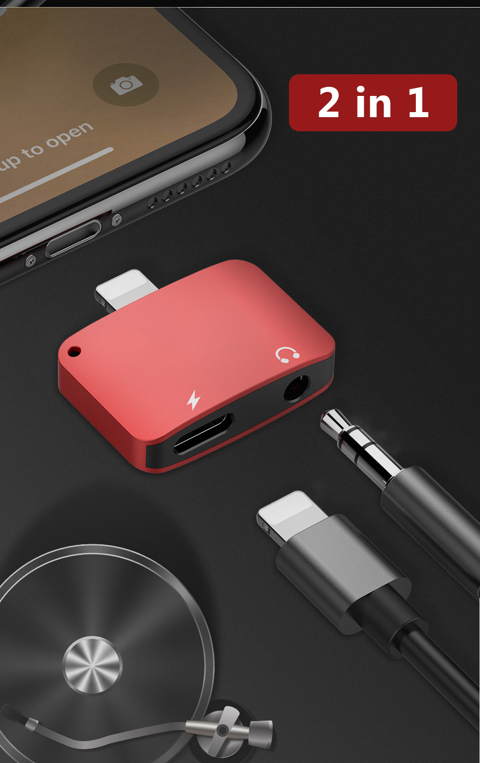 !ACCEZZ Mini 2 IN 1 Lighting Audio Charging Converter For iphone X 8 7 Plus XS MAX XR 3.5mm Headphone Jack Adapter AUX Splitter (5)