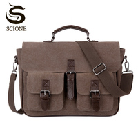 Office Man Briefcase Bag Classic Style Business Men Bag Documents Canvas Shoulder Bag Back pack Rucksack Men's Canvas Handbags