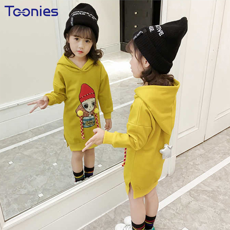 Children Dress Thick Cotton Girls Hooded Dresses Autumn New Design Cartoon Princess Girl Vestido High Quality Kids Party Costume spring autumn girl style dress princess girls dresses high quality cotton kids party costumes solid thicker vestidos zipper bow