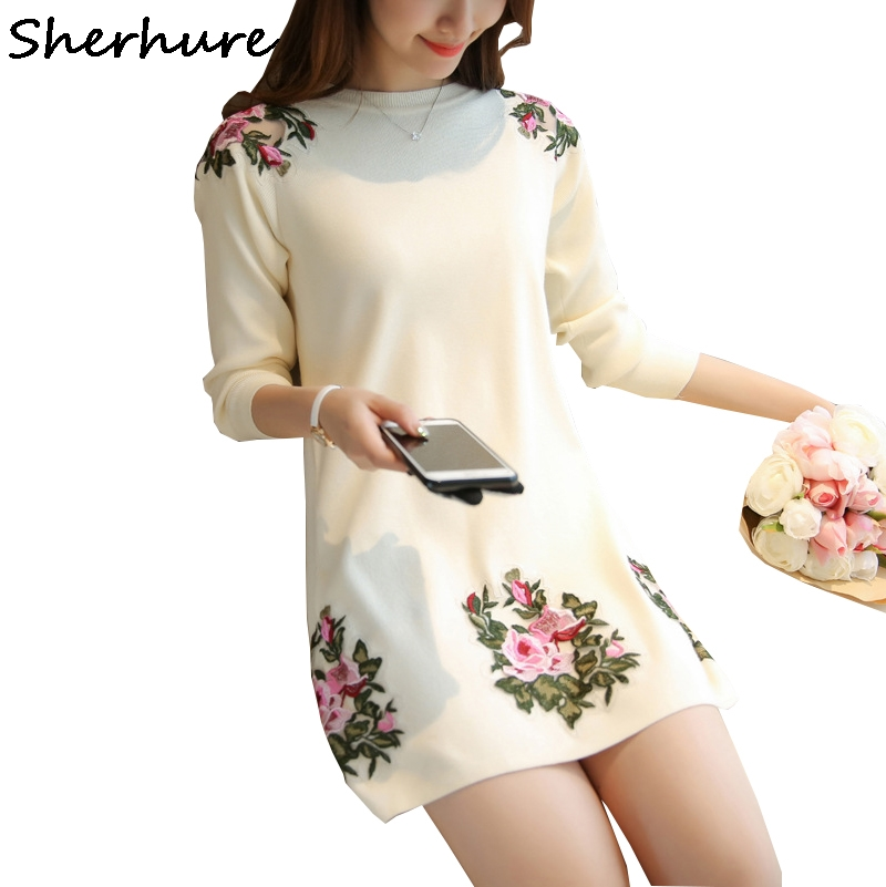 2019 Peony Flower Embroidery Patch Women Sweater And Pullovers O-Neck Women Sweater Dress Pull Femme Women Long Pullovers