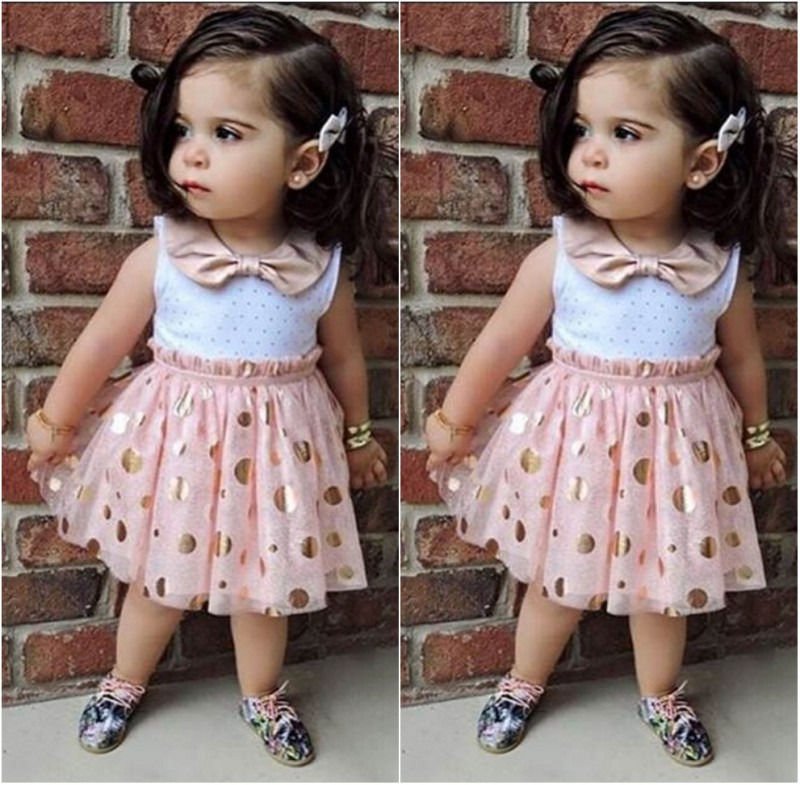 HOT Sale Summer Baby Kids Girls Dress Sleeveless Bow Dot Cute Mini Tulle Tutu Girl's Sequins Party Dresses New Pink 1 2 3 4 5Y 2016 new cute baby girls dress kids princess party denim tulle bow belt tutu dresses 3 8y