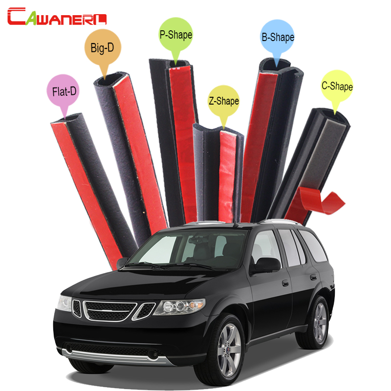 Cawanerl Car 4-Door Hood Trunk Seal Sealing Strip Kit Weatherstrip Seal Edging Trim Noise Control Self-Adhesive For Saab 9-7X cawanerl whole car hood trunk door sealing seal strip kit seal edging trim rubber weatherstrip for jaguar c x17 f pace