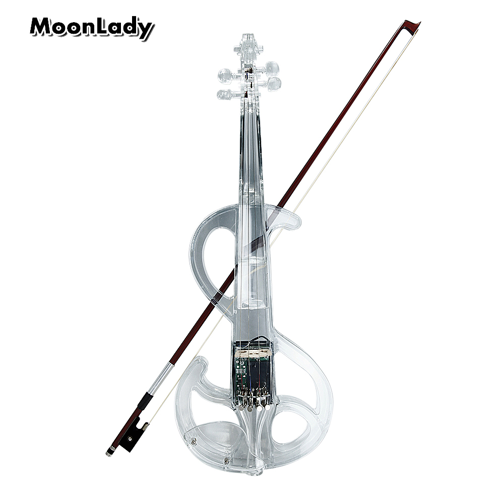 цены  Transparen Electric Violin High Quality Plastic Musical Instruments Crystal Classic Stringed Instruments Violin with Violin Case