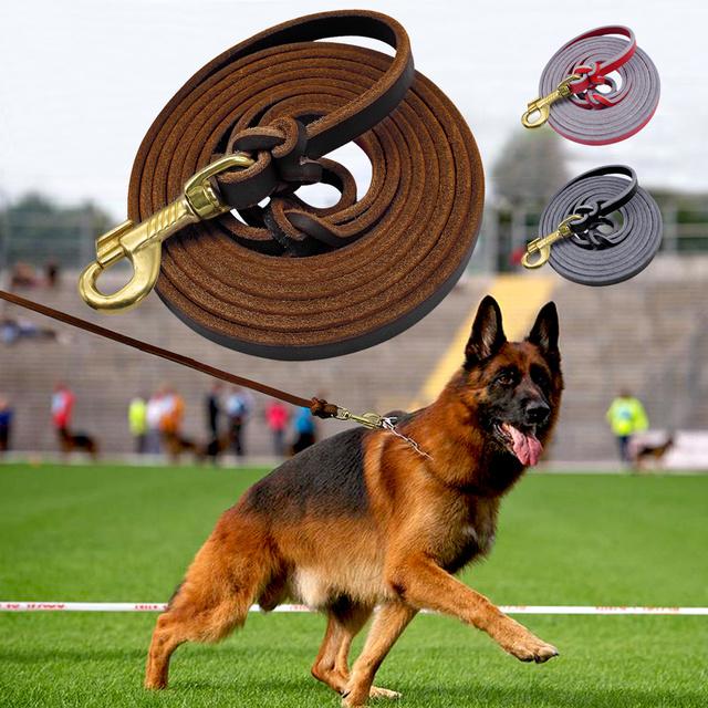 Dog Leash Leather Pet Walking Training Dog Lead Running Leashes Belt For Medium Large Dogs German Shepherd K9 1.5m/2.5m Long