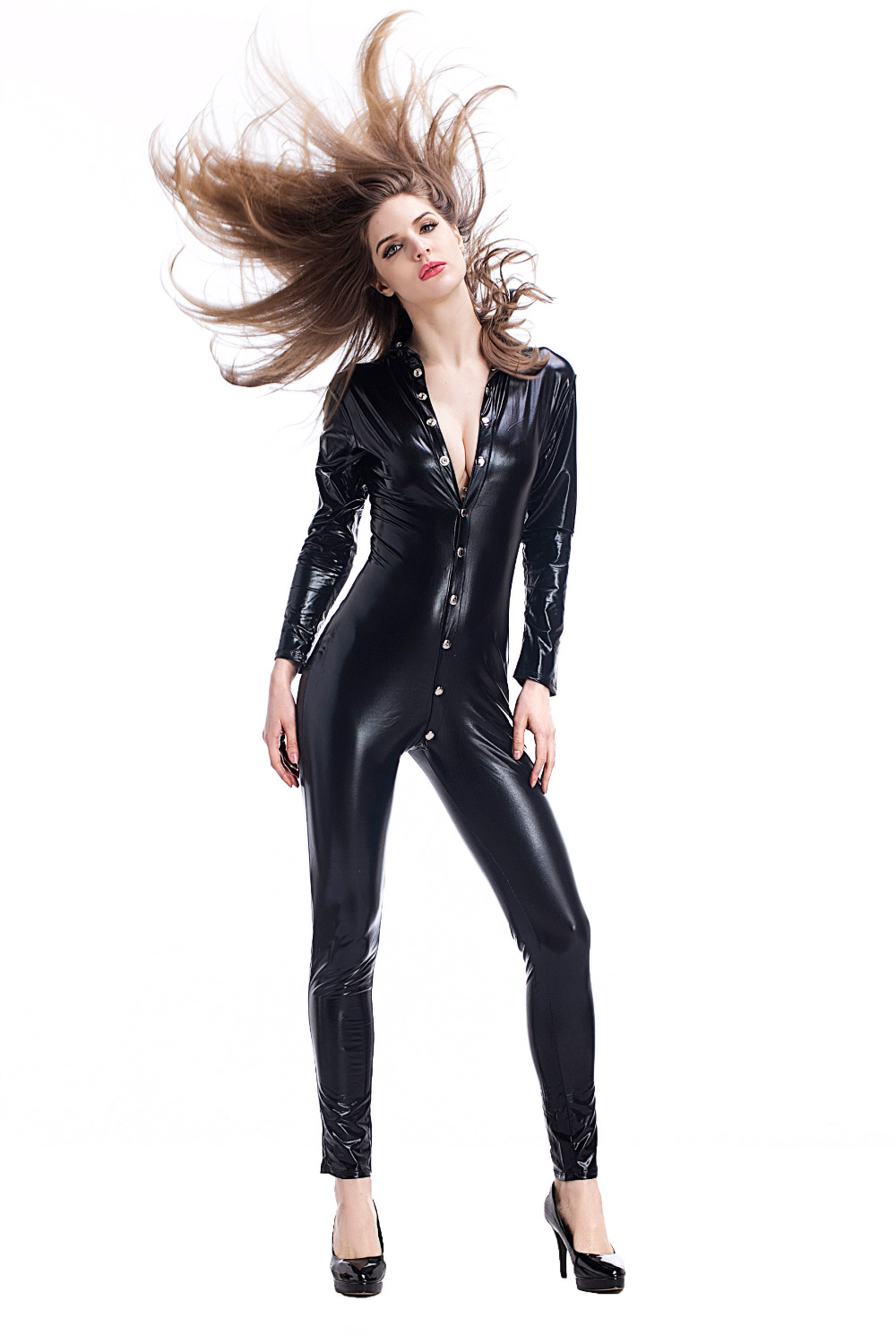 First Feeling New Arrival Lady Black Leather Latex Bodysuit Bondage Teddy Catsuit Side Zipper Erotic Beachwear Swimsuit Lingerie Luggage & Bags