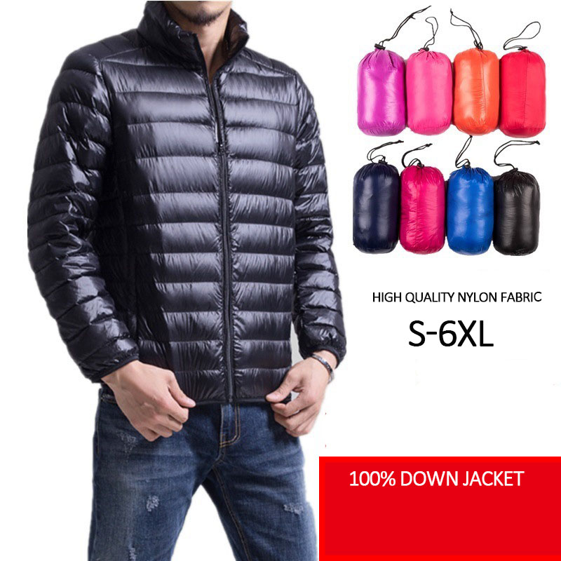 Man Ultra Light   Down   Jacket Thin Pluse Size Spring Outwear Brand Quality casual Duck   Down     coat