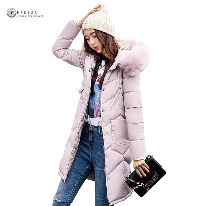 Women Winter Cotton Coat 2017 New Plus Size Long Jacket Fur Collar Warm Wadded Female Parkas High Quality Hooded Outerwear OK975 2017 new women long winter jacket plus size warm cotton padded jacket hood female parkas wadded jacket outerwear coats 5 colors