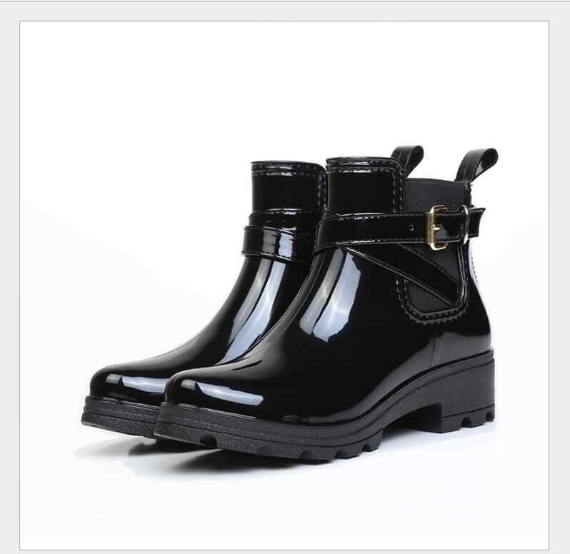 2019 yeni kısa tüp ayakkabı, parlak bayan PVC elastik kauçuk ayakkabı, u şeklinde su ayakkabısı yeni aksesuarlar