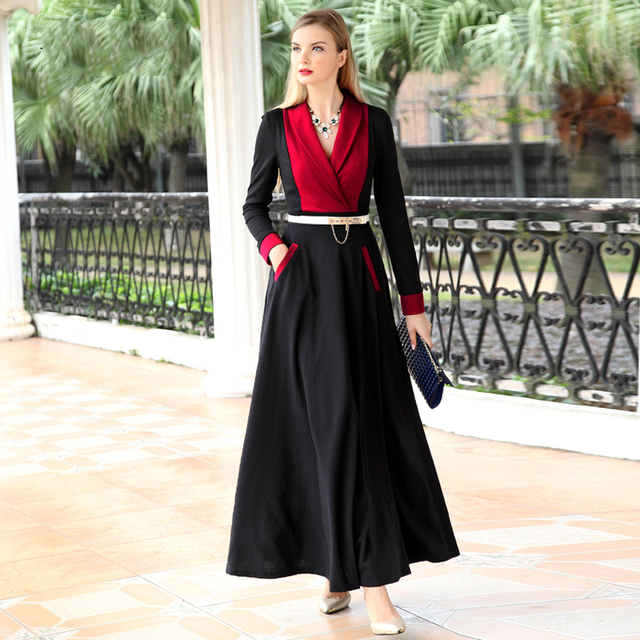 b386d710b80a Muslim clothing Casual Contrast Color Women Spring Dress Long Sleeve Maxi  Long Party Dresses Plus Size