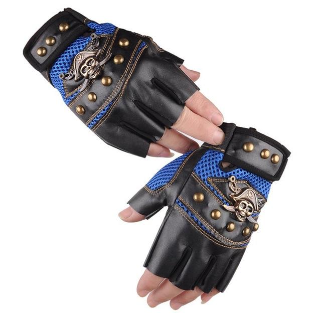 Leather Skull Biker Gloves  1