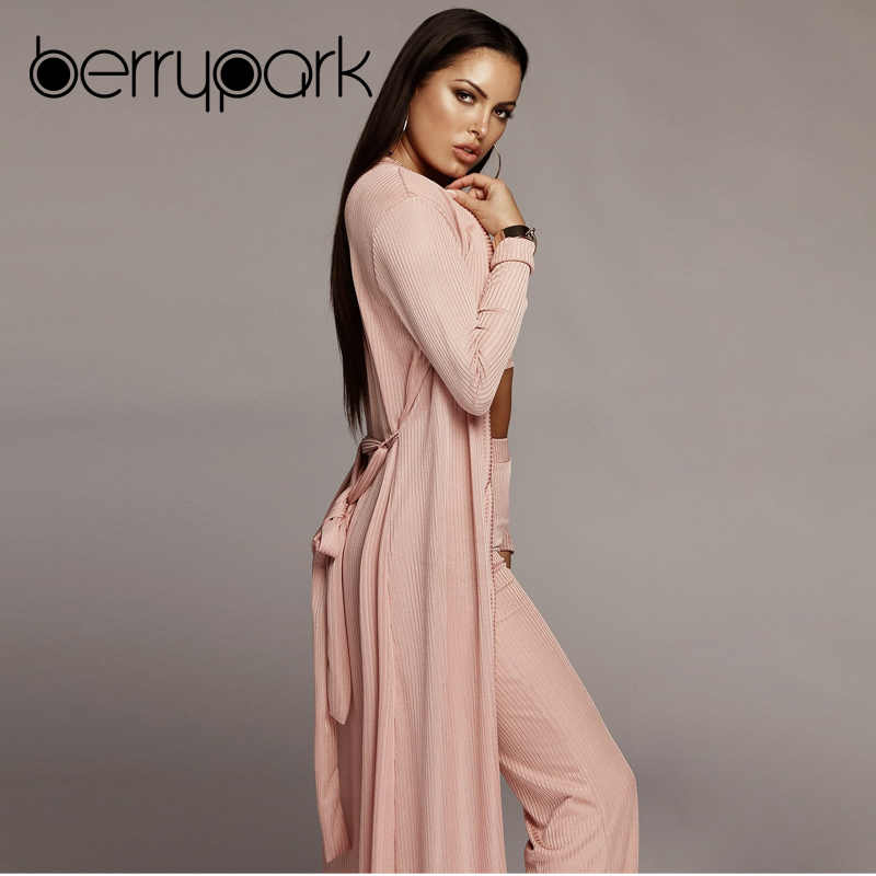 ... BerryPark Knitting Elastic Cotton 3 Pieces Set Women Cardigans+Crop Tops +Pants Suit Female ... 8fb9894a6