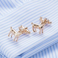 2017 New Gold Color Plating Deer Cufflinks Funny Cuff Links Wedding Men S Cufflinks French Shirt