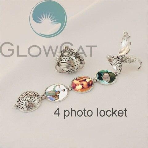 Magic 4 Photo Pendant Memory Floating Locket Necklace Angel Wings Flash Box Fashion Album Box Necklaces Lahore