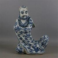 Античная QingDynasty фарфор staute, синий и белый скульптура #2, ручная роспись ремесла, украшения, коллекция и украшения, Бесплатная доставка