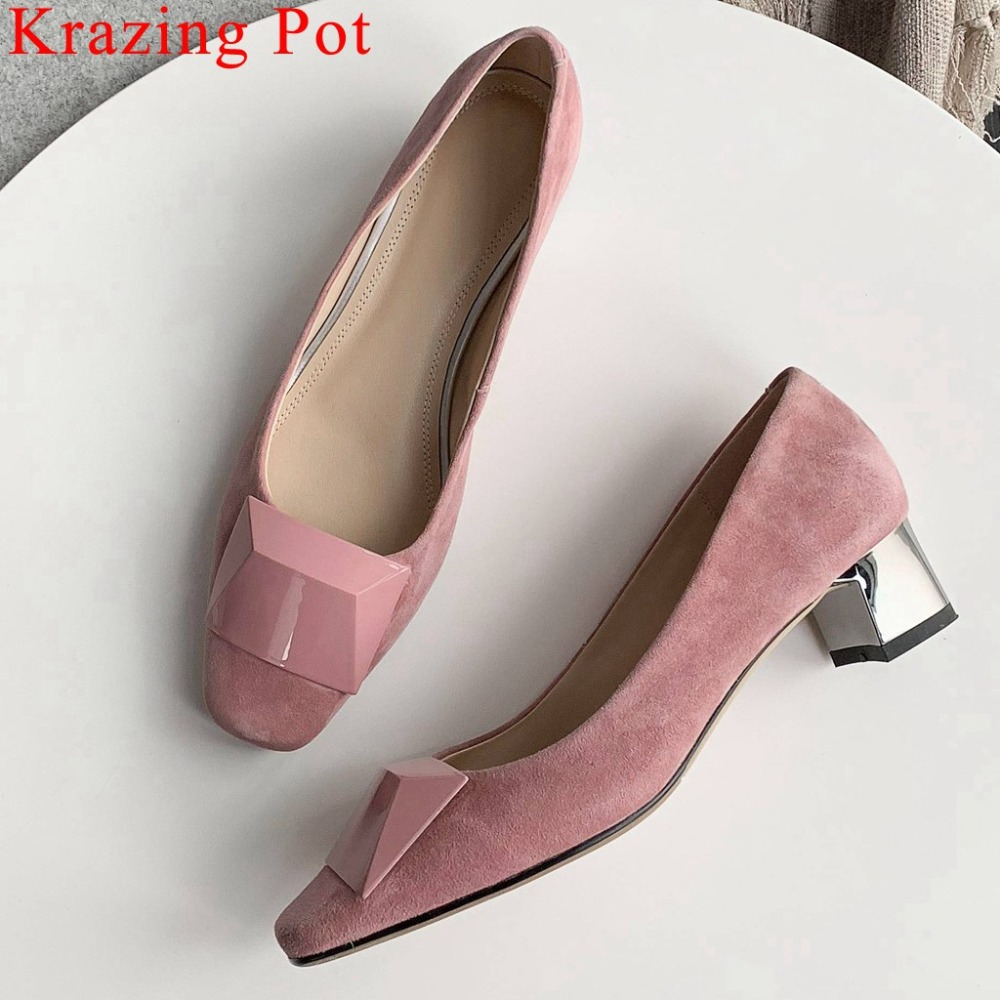 2019 Spring new arrival chunky heels genuine leather office lady slip on British style metal decoration