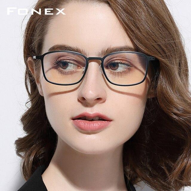 FONEX جودة عالية TR90 مكافحة نظارات الضوء الأزرق الرجال نظارات القراءة حماية نظارات كمبيوتر ألعاب نظارات للنساء AB01