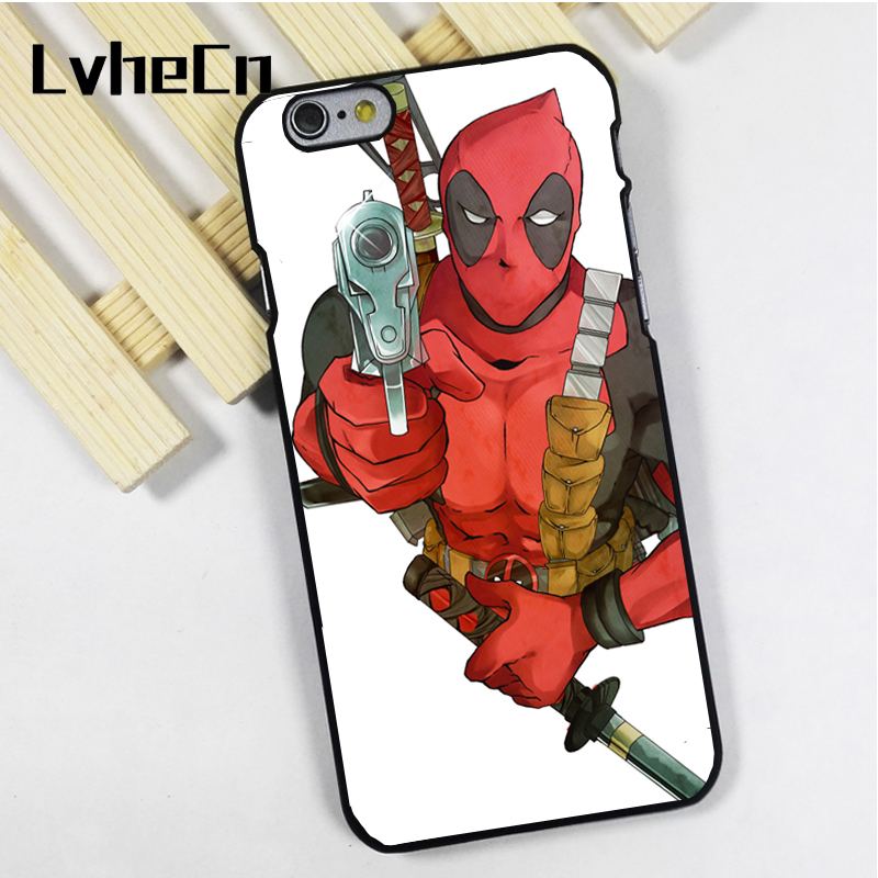 LvheCn phone case cover fit for iPhone 4 4s 5 5s 5c SE 6 6s 7 8 plus X ipod touch 4 5 6 Deadpool Gun Sword Art Marvel