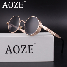 AOZE Round Steampunk Goggles Retro Male Sunglasses Men Vintage Women Gothic Sun Glasses Gold Black Steam Punk Sunglass UV400