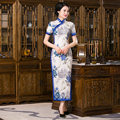 Shanghai Story Chinese Traditional Dress Short Sleeve Floral Cheongsam Dress Faux Silk Qipao
