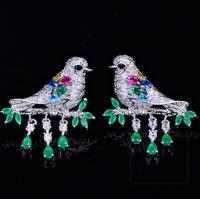 YAFFIL Zircon bird tassel earrings 925 Sterling Silver earpins wedding banquet party Jewelry For Women