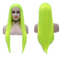 JOY&BEAUTY Synthetic Lace Front Wig Light Green Straight Hand Tied Glueless Heat Resistant Fiber Hair Side Part For Women Wigs