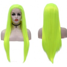 JOY&BEAUTY Synthetic Lace Front Wig Light Green Straight Hand Tied Glueless Heat
