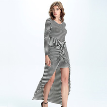 European And American Summer Dresses New Knitted Stripes Irregular Fake Two-piece Long Dress