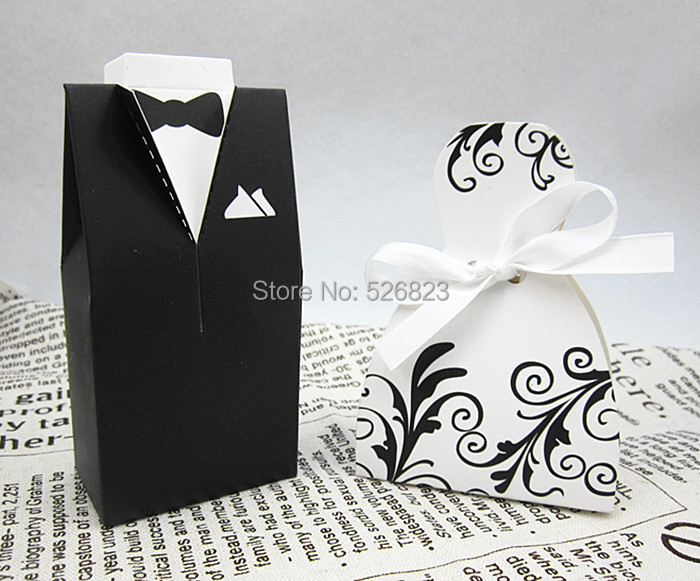Bride and Groom wedding party candy favor boxes bomboniere sweets dragee chocolate bag gifts paper packaging