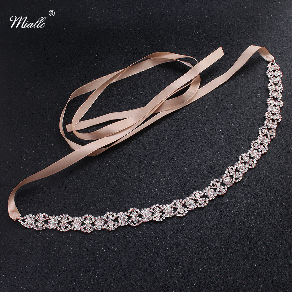 Miallo Classic Thin Austrian Crystal Alloy Wedding Belts & Sashes Skinny Sashes for Bride Bridesmaids Bridal Dress Accessories