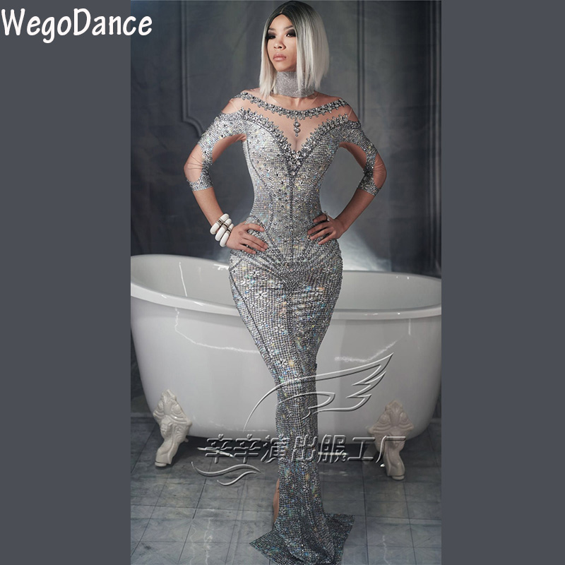 Hot Sexy Sparkly Pearl Rhinestone Gray Dress Fashion Long Sleeves Skinny Dress Prom Nude Stretch Dress Singer Women Clothing