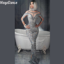 hot sexy Sparkly Pearl Rhinestone Gray Dress Fashion Long Sl