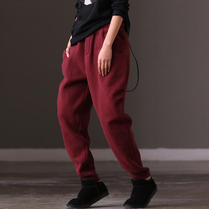 Femmes K982b Pantalon Coréenne Version Black Et Élastique Lâche De Blue Épais purple Hiver Taille the n8nxrv5w