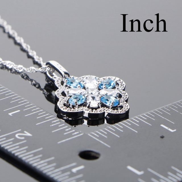 Bridal 925 Sterling Silver Jewelry Sets Blue Zircon  4